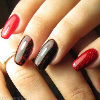 черно-красный модный маникюр