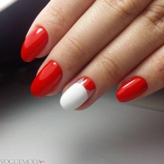 красно-белый маникюр каждодневный