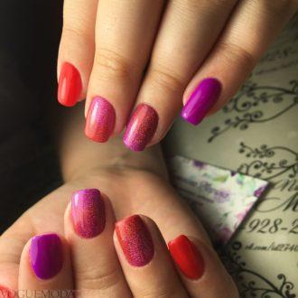 маникюр красный с фиолетовым омбре