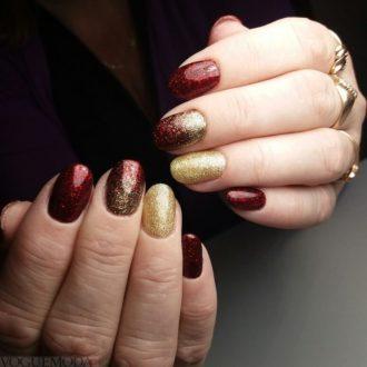 маникюр бордовый с золотом омбре