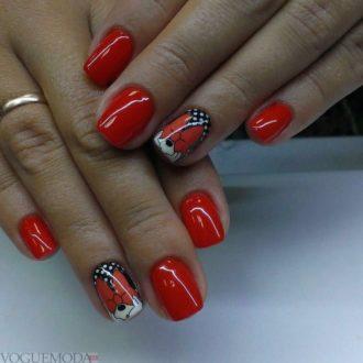 красный с белым и черным цветом с декором