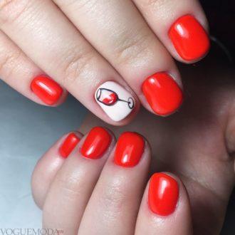 красный с белым и черным цветом с рисунком