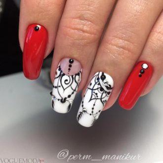 красный с белым и черным цветом с узором