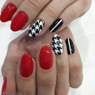 красный с белым и черным цветом геометрический