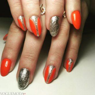 красные ногти с золотом яркие
