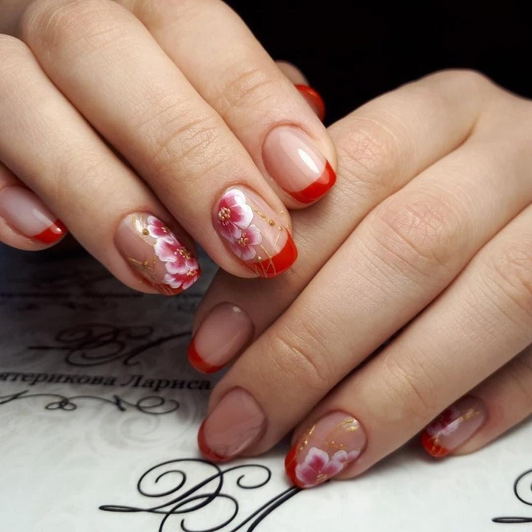 Дизайн ногтей красный френч с рисунком 2018