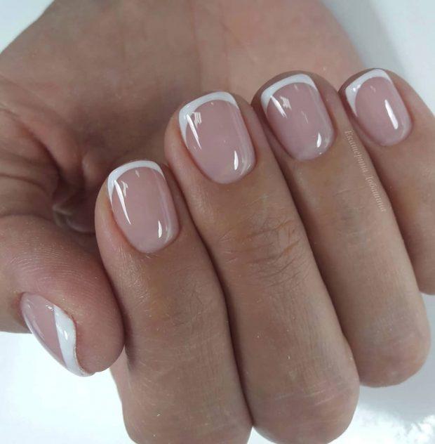 френч гель лаком на короткие ногти