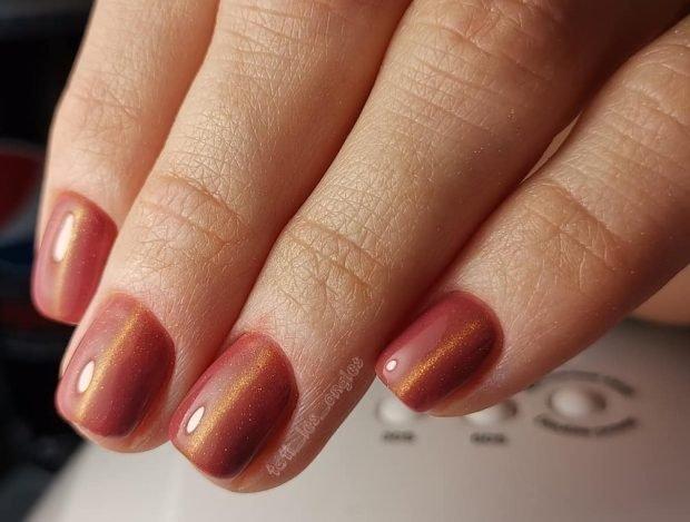 коричневый на короткие ногти