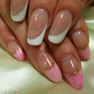 боковой френч двухцветный белый розовый