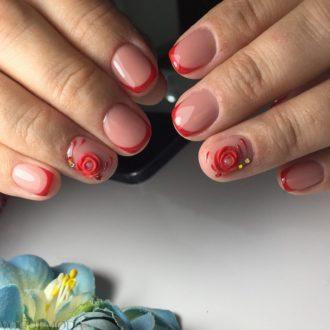 модные ногти френч 2018 красные