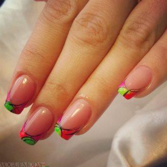 модные ногти френч 2018 разноцветные