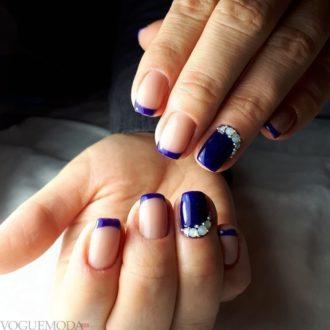 модные ногти френч маникюр с камнями 2018 зимний