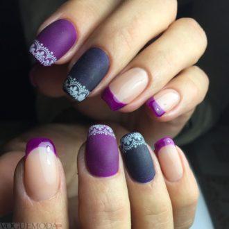 френч фиолетового цвета
