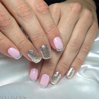 стальной френч двухцветный розовый серебристый
