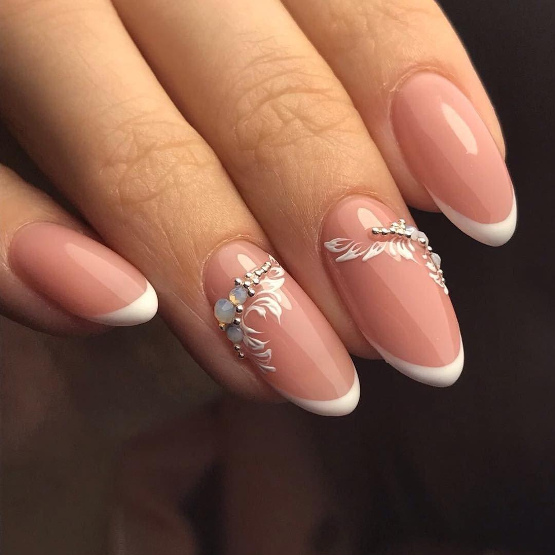 Свадебные ногти фото френч 2018