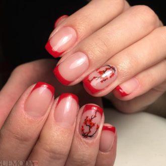 красный френч с рисунком