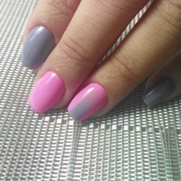 Маникюр на короткие ногти: розовый