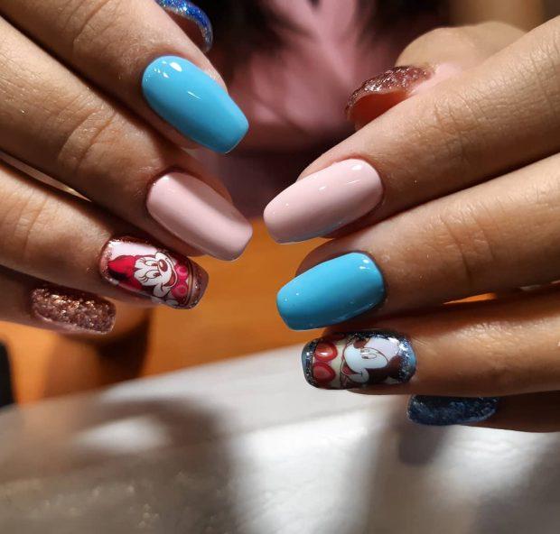 Маникюр весна-лето 2019: голубой и розовый