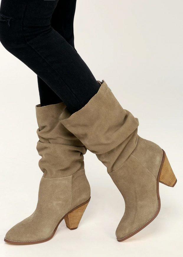 Модная обувь осень-зима 2020: сапоги оливковые