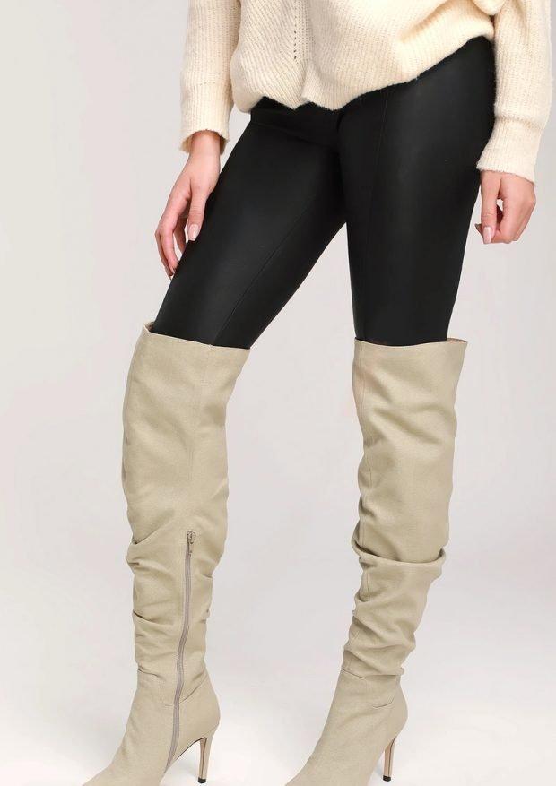 Модная обувь осень-зима 2020 2021: сапоги высокие кремовые