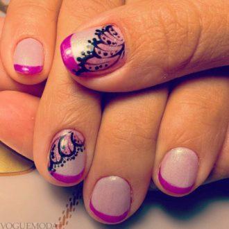 фоилетовый френч на короткие ногти