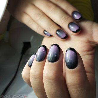 темный френч на короткие ногти