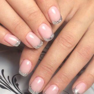 серебристый френч на короткие ногти