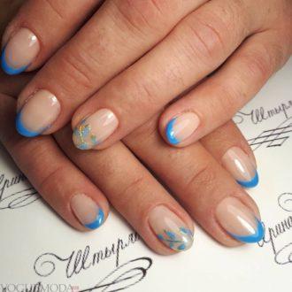 синий френч на короткие ногти
