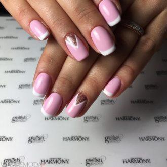 розовый френч на короткие ногти