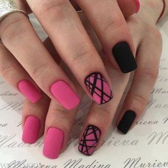 короткие ногти «matte» с декором