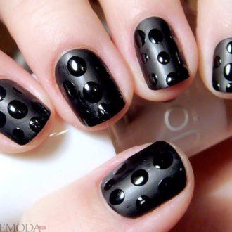 короткие ногти «matte» черные