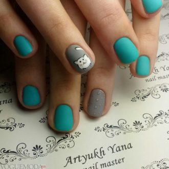 короткие ногти «matte» двухцветные