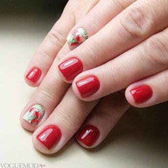короткие красные ногти