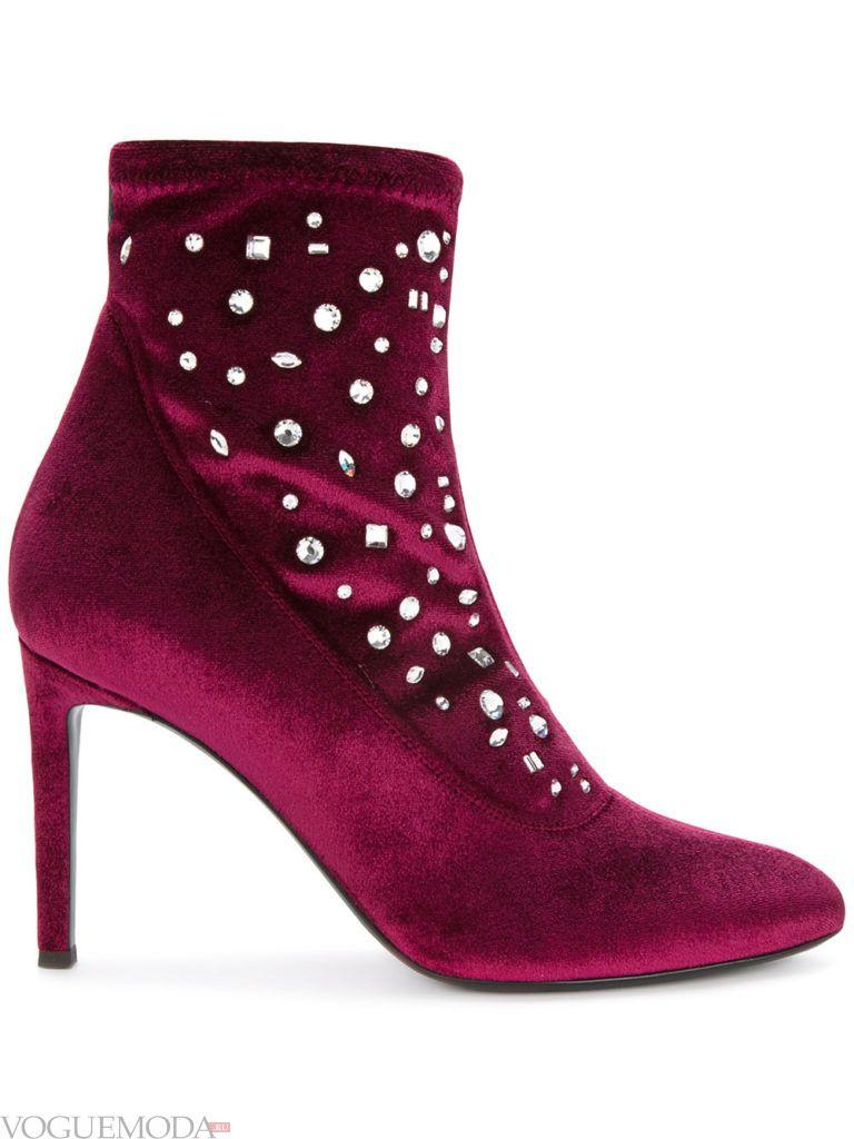 ботинки на шпильке бордовые
