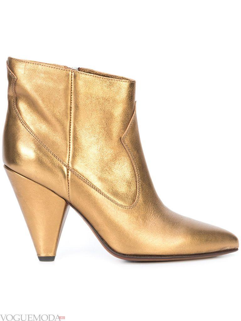 золотые ботинки на высоком каблуке