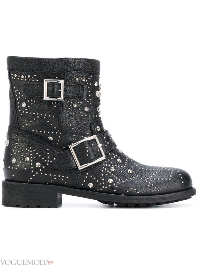 байкерские ботинки с декором