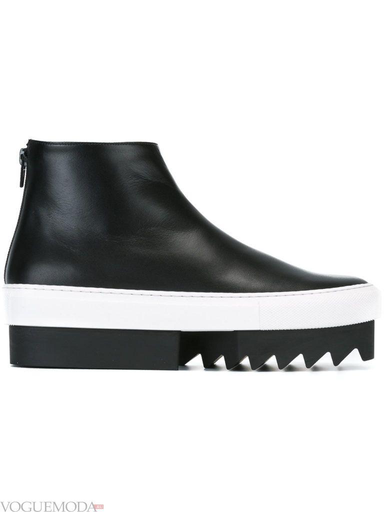 двухцветные рифленые ботинки