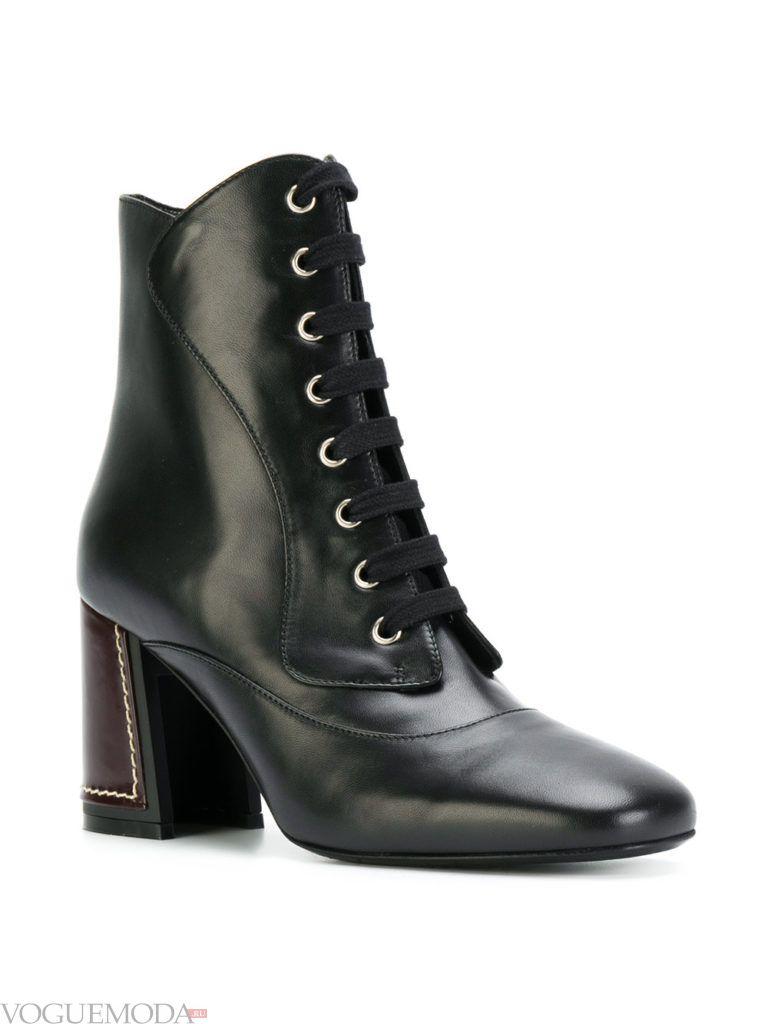 ботинки со шнуровкой черные