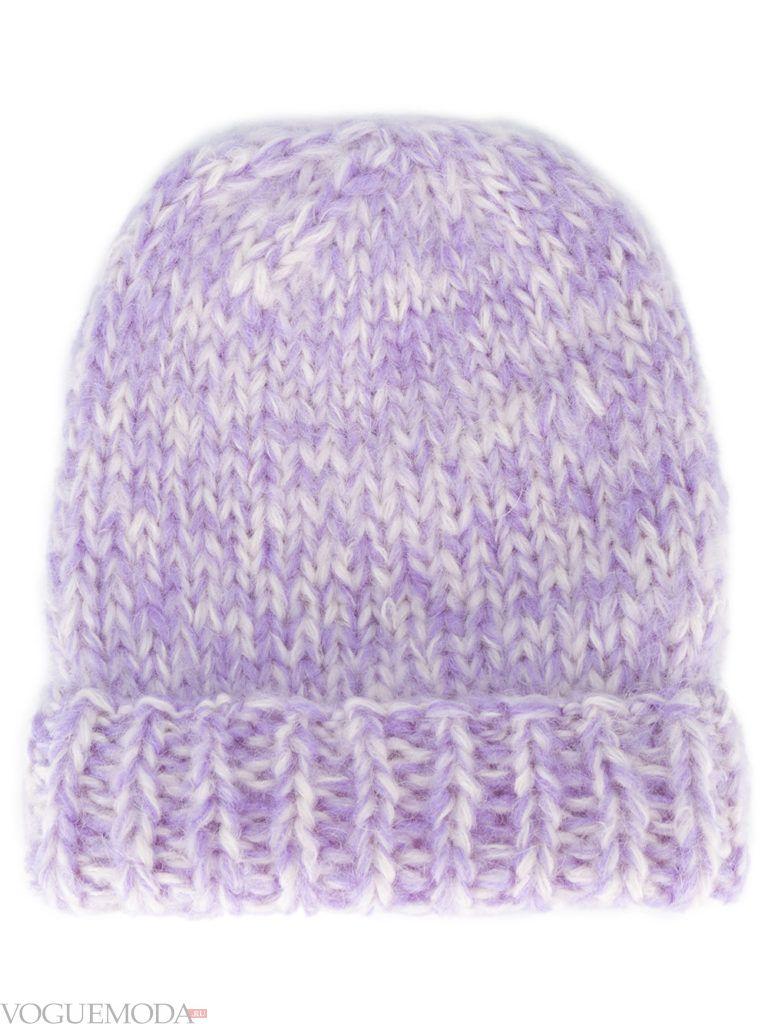 шапка фактурной вязки цветная