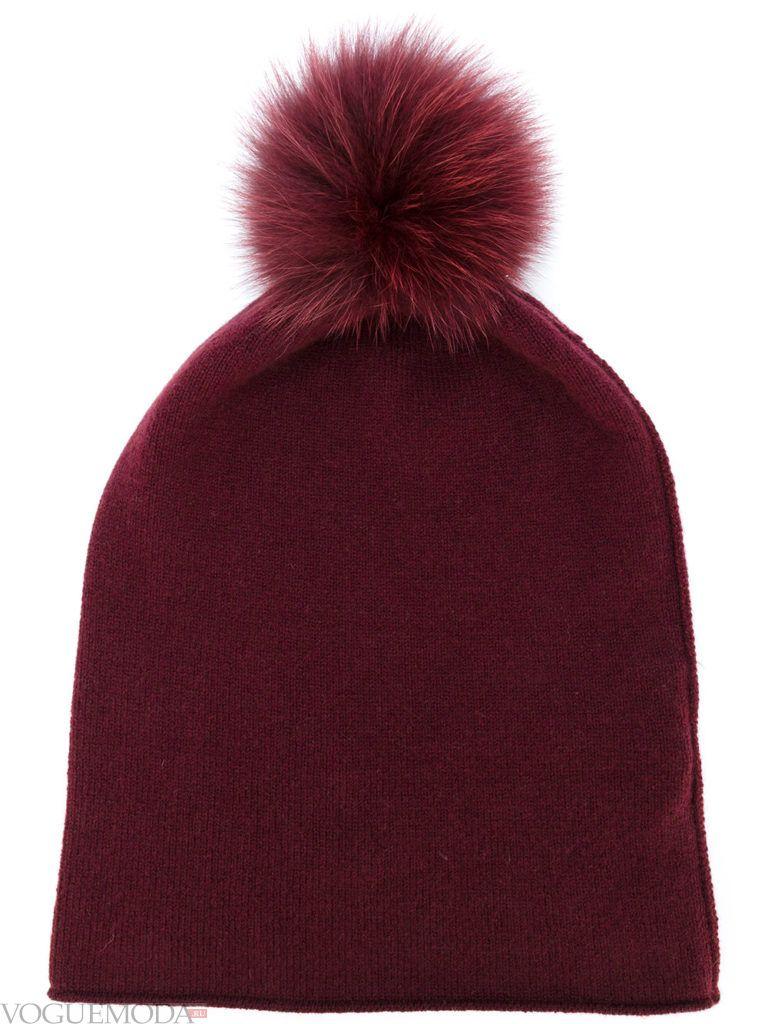 шапка гладкой вязки бордовая
