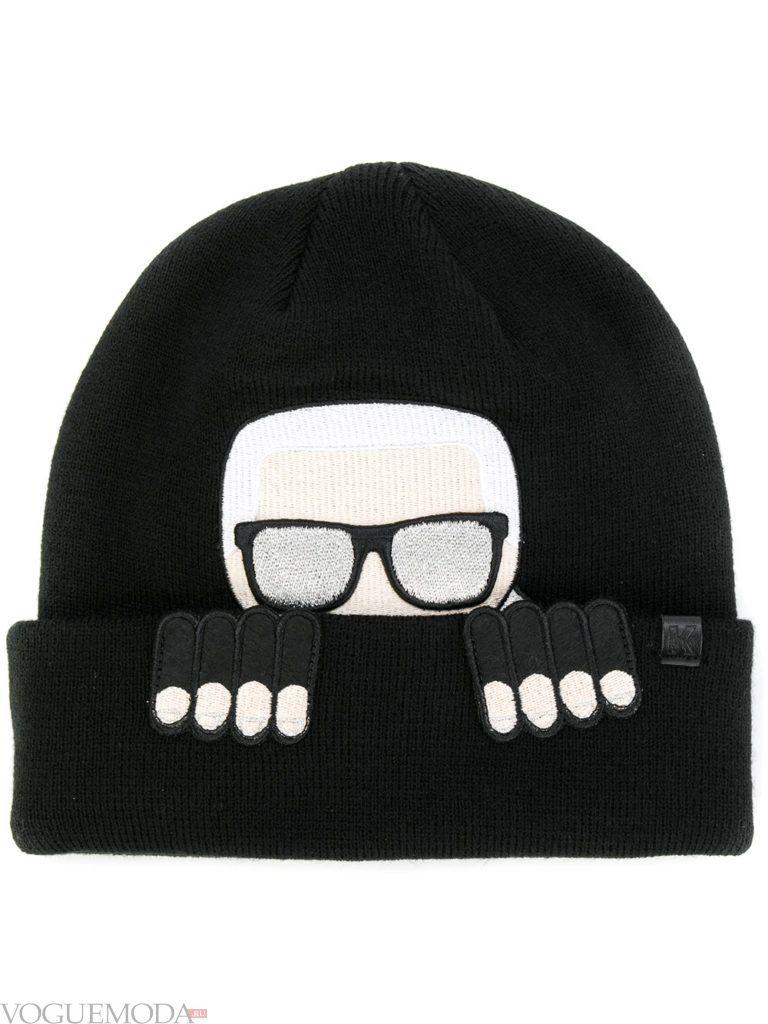 шапка гладкой вязки черная
