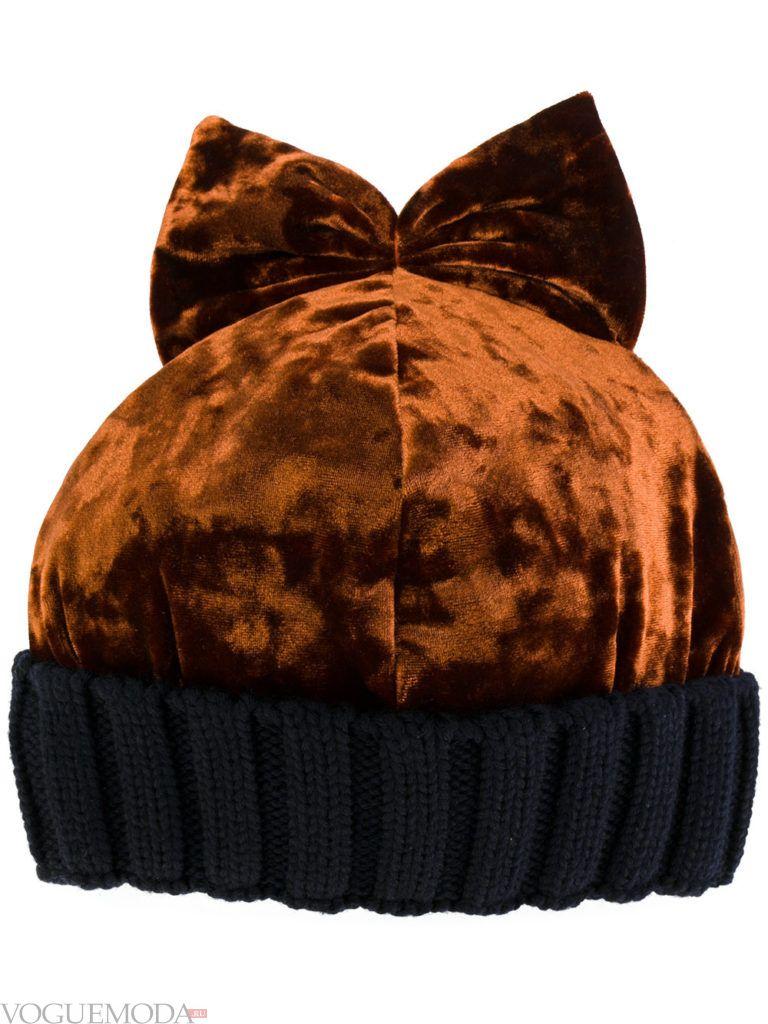 модная бархатная шапка
