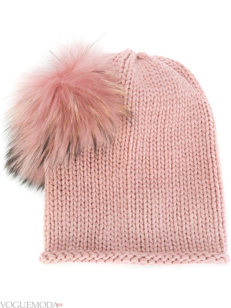 модная шапка розовая