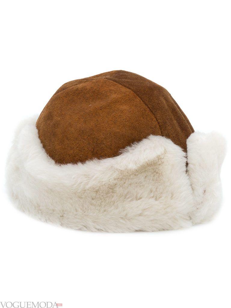 модная шапка с мехом