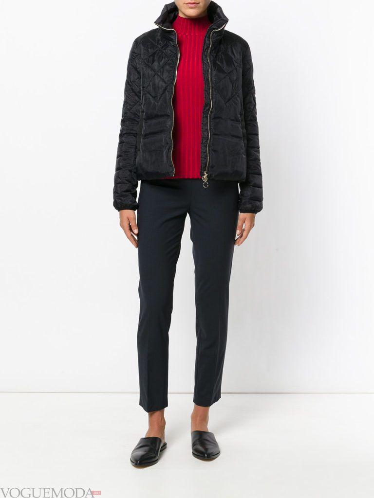 черная куртка на синтепоне с фигурной стежкой