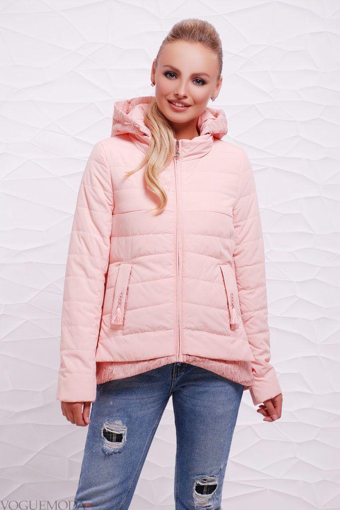 асимметричная розовая куртка на синтепоне