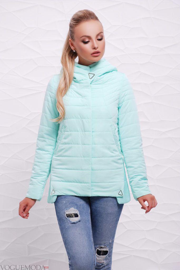 асимметричная голубая куртка на синтепоне