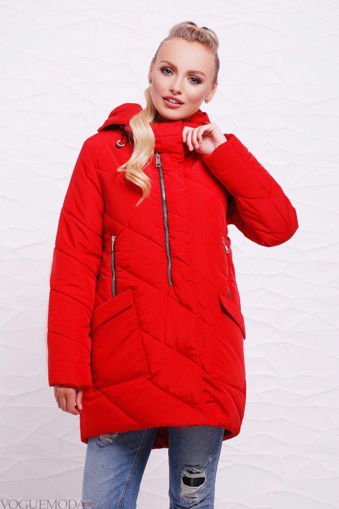 асимметричная красная куртка на синтепоне