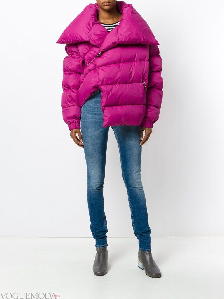 асимметричная яркая куртка на синтепоне