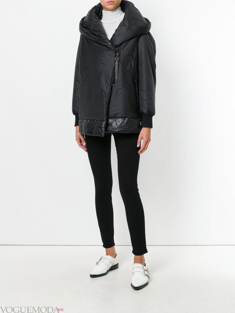 асимметричная темная куртка на синтепоне